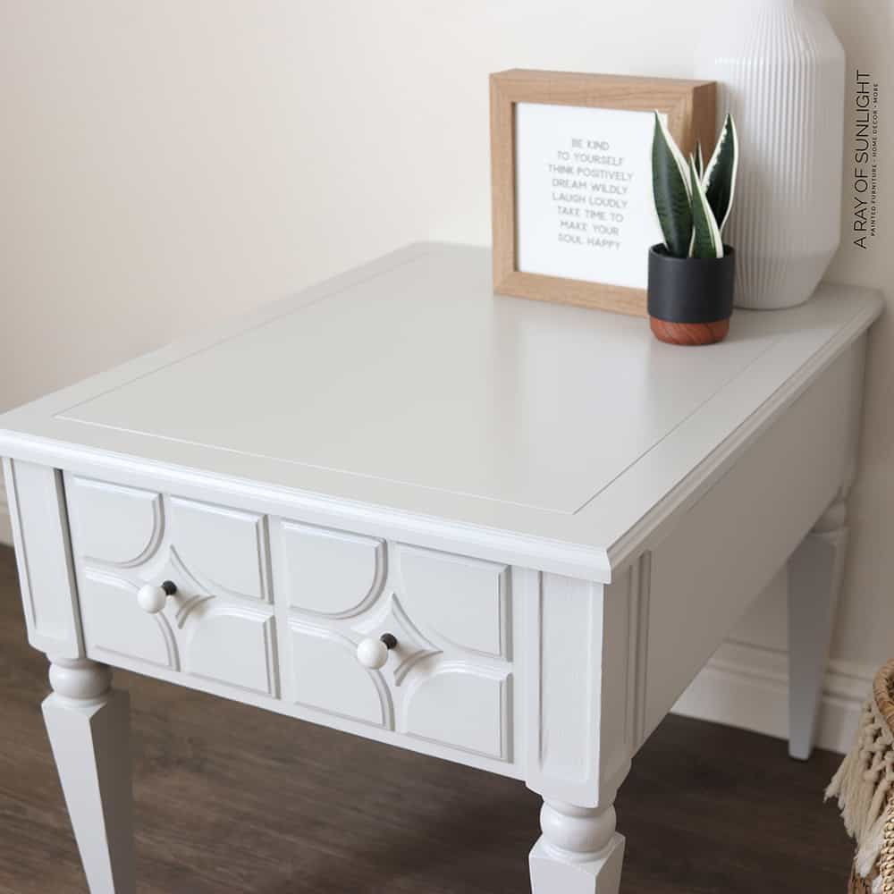 top of gray painted end table