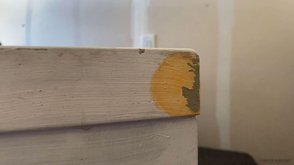 orange liquid on regular paint