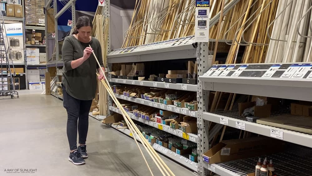 checking for straight dowels at lowes