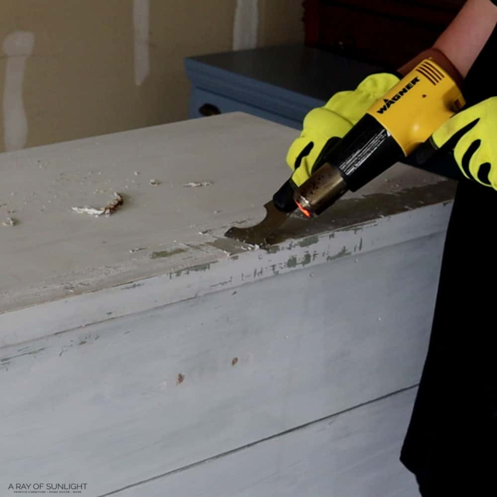 removing the old paint with a wagner heat gun