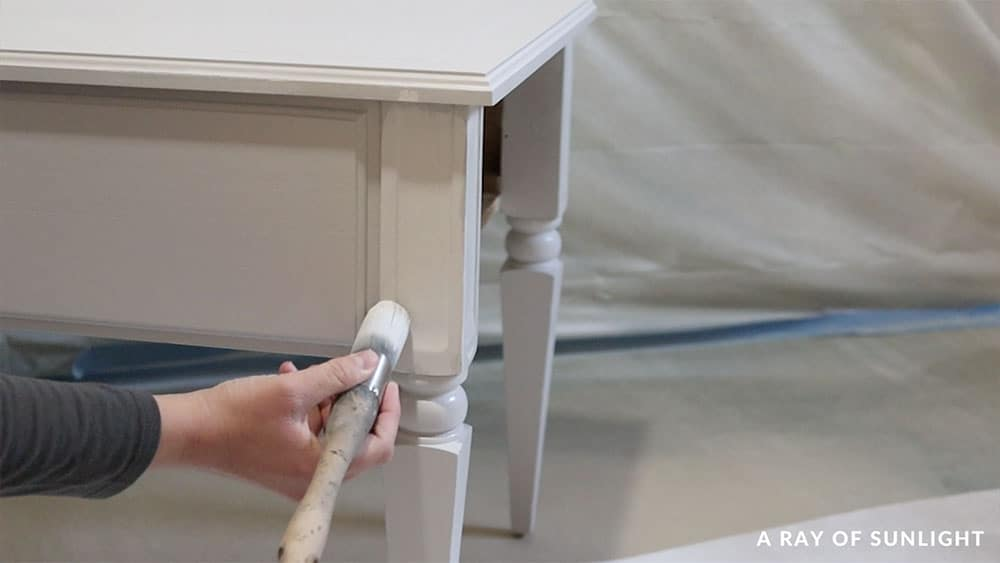Brushing on paint after filling wood grain