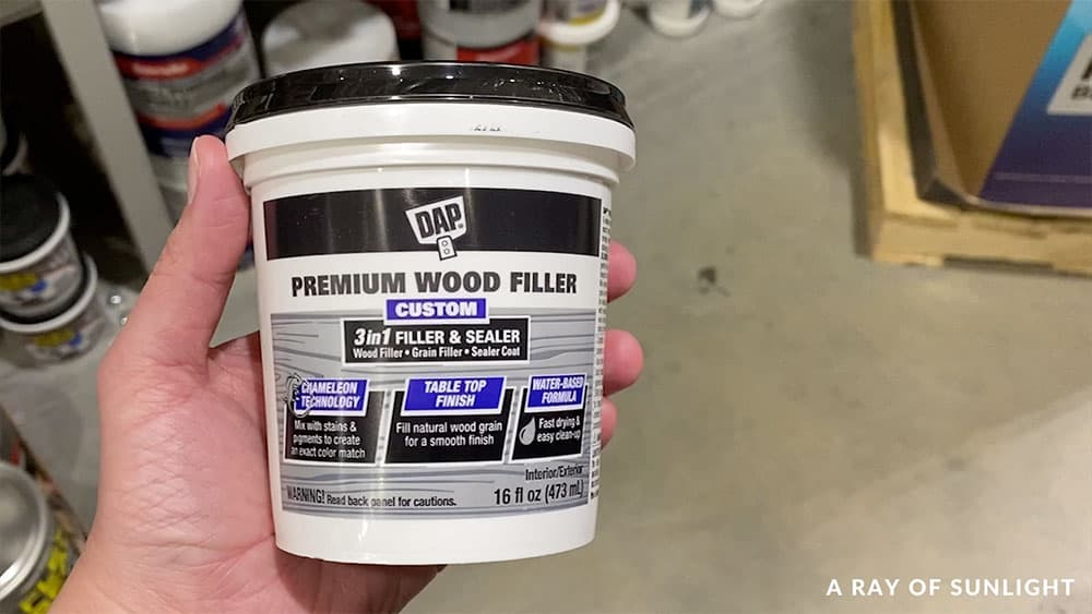 Premium wood filler - alternative to spackling for filling wood grain when painting furniture